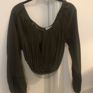 Olive Peasant Blouse